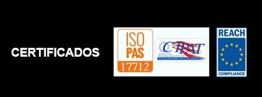Certificaciones ISO 17712 e REACH (Regolamento CE 1907/2006)