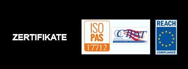 Zertifizierungen ISO 17712 e REACH (Regolamento CE 1907/2006)